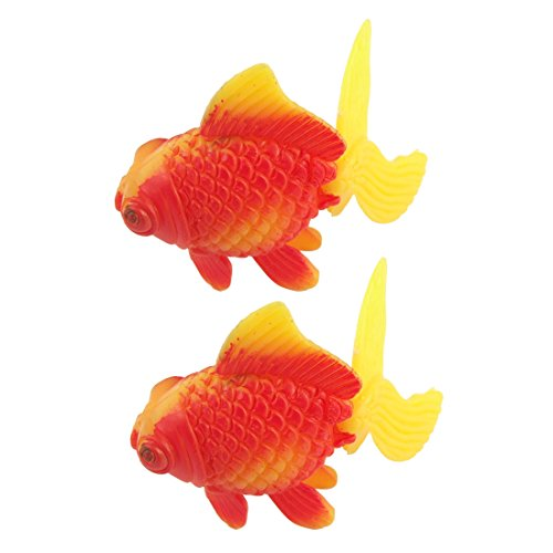 Jardin Plastic Aquarium Decor Faux Fantail Goldfish, 2-Piece, Orange