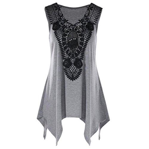 Women Blouse!Women Sleeveless Irregular T-Shirt Plus Size V Neck Lace Trim T-Shirt (XXXXXL, ()