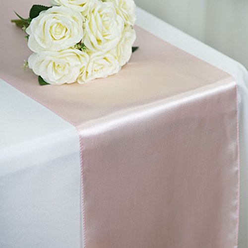 Tiger Chef 12-Pack Blush 12 x 108 inches Long Satin Table Runner for Wedding, Table Runners fit Rectange and Round Table Decorations for Birthday Parties, Banquets, Graduations, -