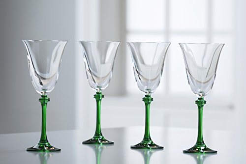 - Galway Crystal Liberty Goblets (Set of 4), Clear/Green