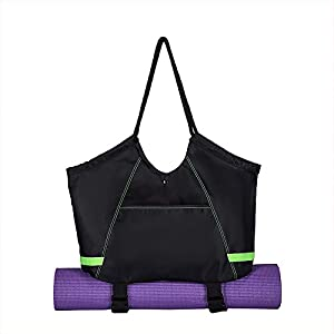 COVAX Yoga Mat Bag, Exercise Yoga Mat Carrier, Large Women/Men Tote Bag with 2 Extra Pockets for Yoga Towel, Yoga Mat…