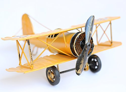 Berry President® Vintage / Retro Wrought Iron Aircraft Handicraft - Metal Biplane Plane Aircraft Models -The Best Choice for Photo Props/christmas Gift/home Decor/ornament/souvenir Study Room Desktop Decoration (Yellow) (Christmas Photo Prop Gift)