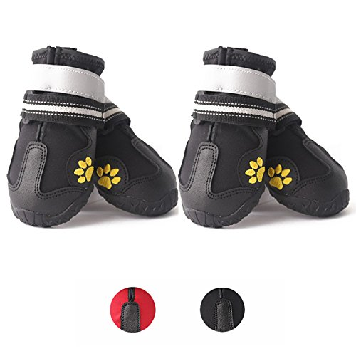 Waterproof Dog Shoes Dog Boots Outdoor Dog Sneakers Hiking Dog Paw Protectors with Double Reflective Velcro and Rugged Anti-Slip Sole,4PCS,Sizes 2-8 by U Only You (4, Black) (Designer Dog Boots)
