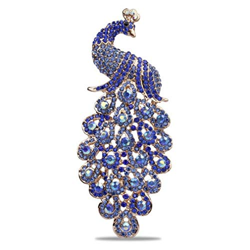 DARLING HER Large Size Shining Colored Crystal Rhinestones Peacock Brooches in 6 Assorted Blue