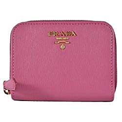 Prada 1mm268 2ezz Fuxia Pink Saffiano Leather Zip Around Coin Purse Wallet