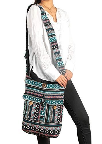 (Large Woven Blue Handmade Shoulder Hobo Bag School Market Laptop Woven Women Fashion Boho Summer Beach Colorful Cotton Multi pockets Travel Tribal Ethnic Bohemian (Geometric Blue))