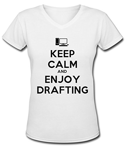 Keep Calm And Enjoy Drafting Blanc Coton Femme V-Col T-shirt Manches Courtes White Women's V-neck T-shirt