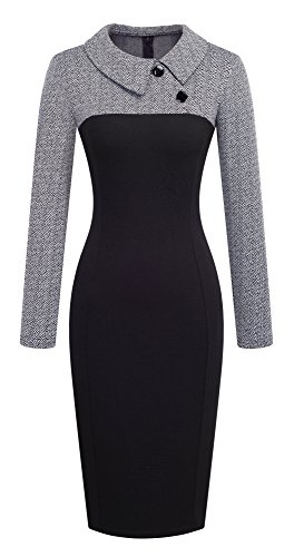 HOMEYEE Women's Retro Chic Colorblock Lapel Career Tunic Dress B238 (S, Gray)