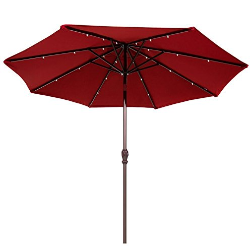 Abba Patio Cover Replacement for 9' Round Aluminum Solar Powered 24 Led Light Patio Umbrella, Red (Frame Not Include)