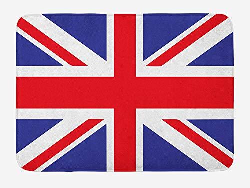 (Union Jack Bath Mat, Classic Traditional Flag United Kingdom Modern British Loyalty Symbol, Plush Bathroom Decor Mat with Non Slip Backing, 23.6 W X 15.7 W Inches, Royal Blue Red White)