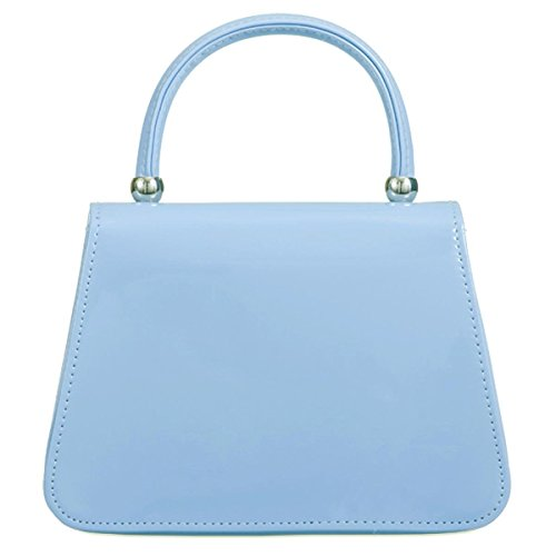 Xardi London pochette da sposa maniglia borsa brevetto in similpelle donne ragazza Blue