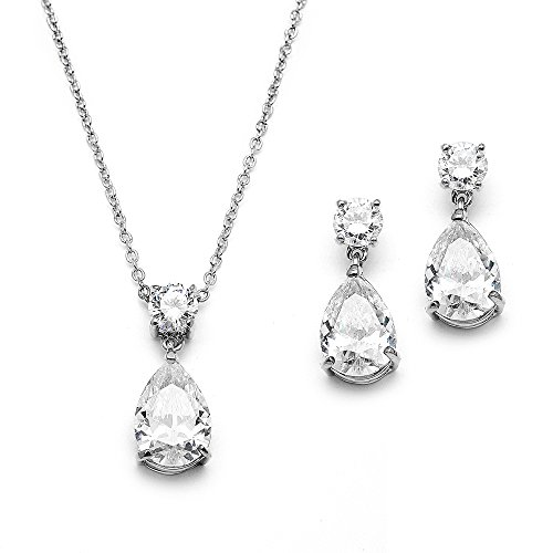 Mariell Glamorous Pear-Shaped Cubic Zirconia Wedding Necklace and Earrings Set for Brides or Bridesmaids