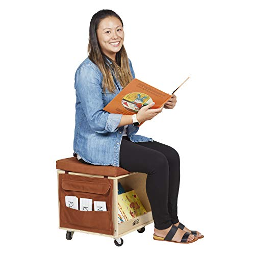 ECR4Kids Birch Hardwood and Canvas Mobile Teacher Stool with Storage ()