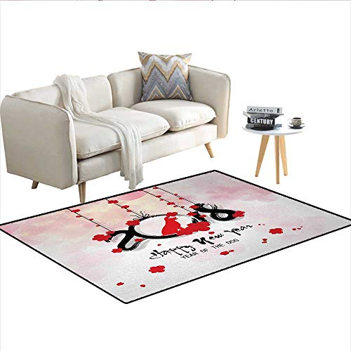 "Carpet,Brush Calligraphy New Year with Cherry Blossom Silhouettes,Outdoor Rug,Vermilion Black Pale PinkSize:55""x63"""
