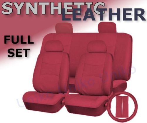 Unique Imports Full Set 13 Piece Premium Double Stitched Vinyl Leatherette Car Vehicle Seat Covers Luxury Universal Fit Interior - Includes Steering Wheel Set (Red Leatherette)