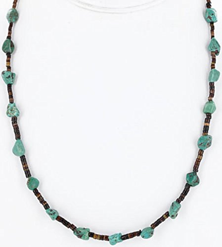 $230 Retail Tag Authentic Made by Charlene Little Navajo Silver Natural Turquoise Native American Necklace