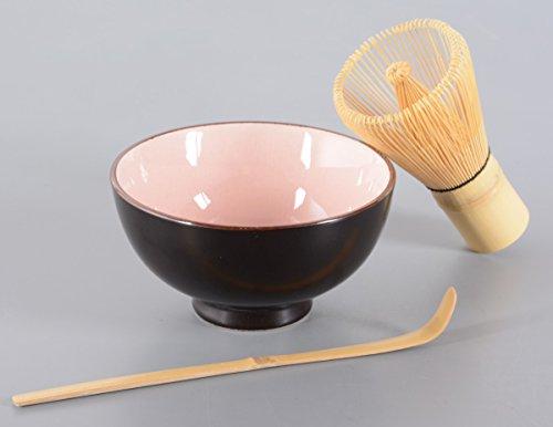 Matcha-Set 3-teilig, 250ml rosa, Craquelé-Muster / Matcha Schale / Matcha Bambuslöffel / Matcha Bambusbesen, in Geschenkbox, Original Aricola