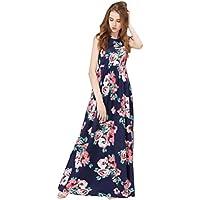 Hot Sale ! Beautiful Women Floral Print Sleeveless Boho Dress, Ninasill Exclusive Ladies Evening Party Long Maxi Dress (L, Blue)