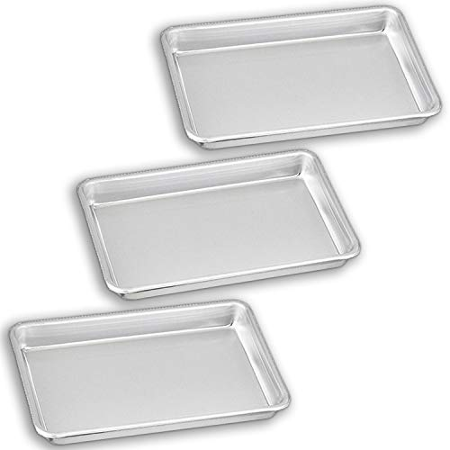 """Bakeware Set - 3 Aluminum Sheet Pan - 1/8 Size (6.5"""" x 9.5"""") - for Home Use. Perfect Size For Your Microwave Oven, Non Toxic, Perfect Baking Supply set for gifts, for new and experienced bakers alike"""
