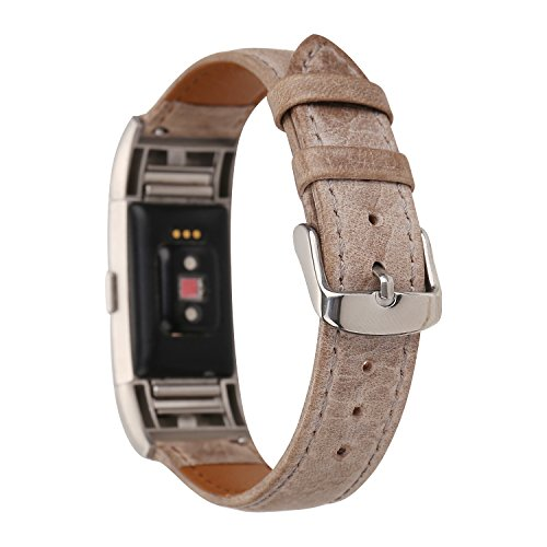 for Fitbit Charge 2 Band, Genuine Leather WatchBand Adjustable Replacement Sport Strap Bands for Fitbit Charge 2 Smartwatch Fitness Wristband (Light Brown) by WONMILLE