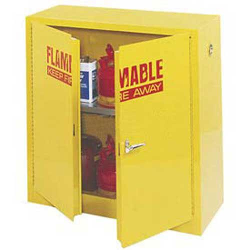 Flammable Liquid Cabinet, 30 Gallon, Manual Close Double Door, 43