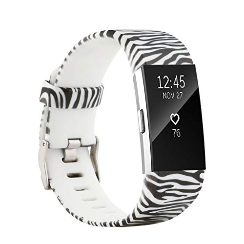 2 White Zebra - honecumi Colorful Watch Band Replacement for Fitbit Charge 2 Wrist Strap for Men & Women Quick Release Strap Band Compatible with Fitbit Charge 2 Smart Watch-Large Size -Zebra
