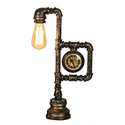 LANNA SHOP- Retro Industrial creative desk light Iron pipe table lamp with a clock power button switch