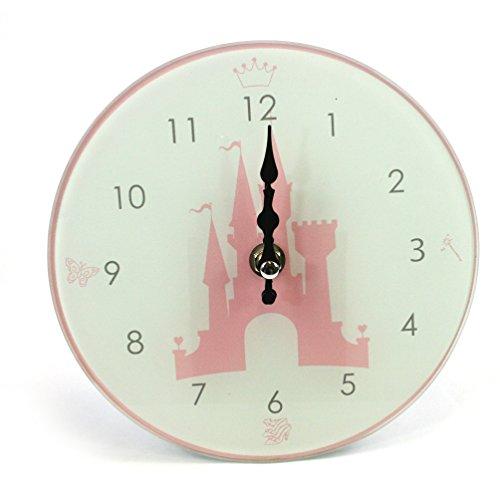 Girls Princess Pink Castle Glass Wall Clock Nursery -