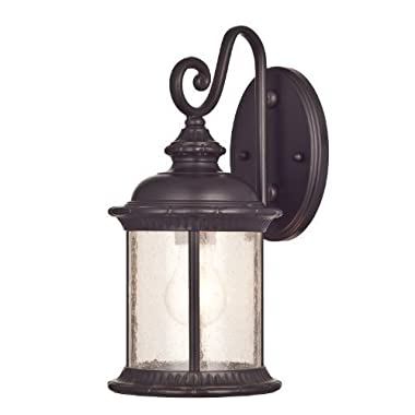 Westinghouse 6230600 New Haven One-Light Exterior Wall Lantern on Steel with Clear Seeded Glass, Oil Rubbed Bronze Finish - Pack of 2