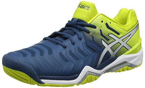 Asics Gel Heren Resolutie 7 Sportschoenen, Zwart, Blauw 7 Eu (incl Bluesulphur Spring Wit 4589)