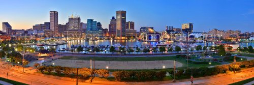 Baltimore Inner Harbor Skyline PHOTO PRINT UNFRAMED THREE STYLES 11.75 inches x 36 inches Photographic Panorama Poster Picture Standard - Inner Shops Baltimore Harbor