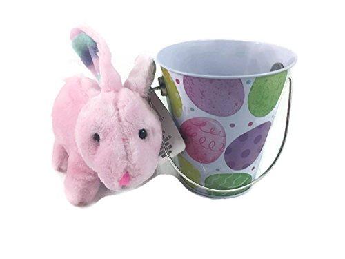 Babys First Easter Basket Bundle (Girl) 2 Items: 1 Soft And Cuddly Pink Bunny 1 Keepsake Tin Bucket
