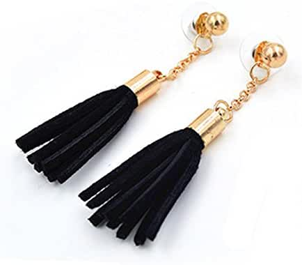 megko Long Drop Earrings for Women Faux Leather Tassel Gold Plated Stud Earring