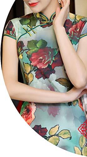 ぬるいカビ冷ややかなチャイナドレス長いスリム春と秋のレトロシミュレーションシルクベルベット,316色,XXXL