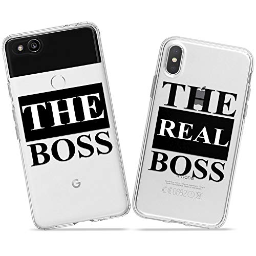 (Wonder Wild The Boss Couple Case iPhone Xs Max X Xr 10 8 Plus 7 6s 6 SE 5s 5 TPU Clear Gift Apple Phone Cover Print Protective Double Pack)
