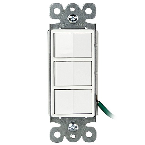 Enerlites Single Pole Triple Light Switch, 62755-W | 3 Individual Switches for Fans, Heaters, Lights, Garbage Disposals, Residential and Commercial, Self-Grounding, UL Listed | 15A, 125/277V - White