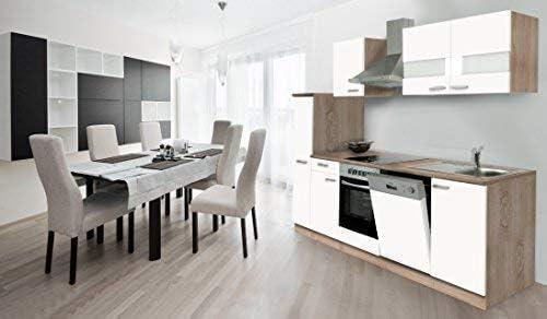 respekta - Cocina esquinera de cocina modular, bloque de cocina, 250 cm, madera de roble, corte en bruto con sierra blanca Ceran: Amazon.es: Hogar
