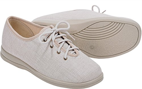 Cosyfeet Sammi Fabric Shoes - Extra Roomy (Eeeee+ Width Fitting) Beige Cotton-mix XoyAV1S