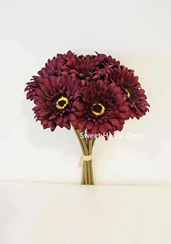 Sweet Home Deco 13'' Silk Artificial Gerbera Daisy Flower Bunch (W/ 7stems, 7 Flower Heads) Home/Wedding (Purple) (Purple Flower Daisy)