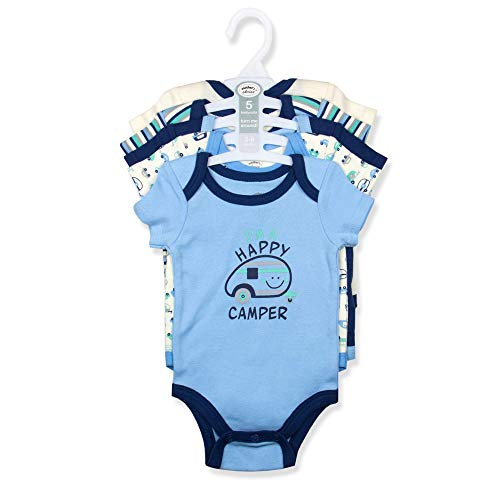 Mother's Choice 100% Pure Cotton Set of 5 Baby Bodysuit Short Sleeve Cotton Romper for Kid Newborn Infant Toddler Boys