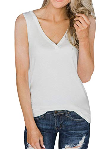 Chuanqi Womens Tank Tops V Neck Loose Fit Sleeveless Casual Summer Long Tunic Shirts White