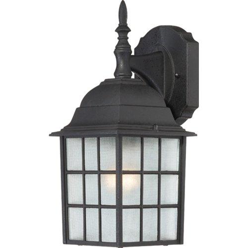 Nuvo Lighting 60/4906 Adams One Light Wall Lantern/Arm Down 100 Watt A19 Max. Frosted Glass Textured Black Outdoor Fixture