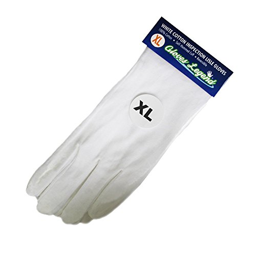 (Size Extra Large - 6 Pairs (12 Gloves) Gloves Legend White Coin Jewelry Silver Inspection Cotton Lisle Gloves - Premium Weight)