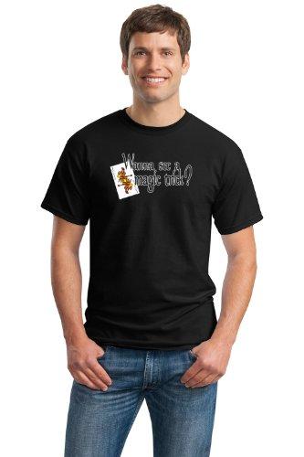 Womens Magic Trick (WANNA SEE A MAGIC TRICK? Unisex T-shirt / Magic Fan Card Trick Tee Shirt-Black-Small)