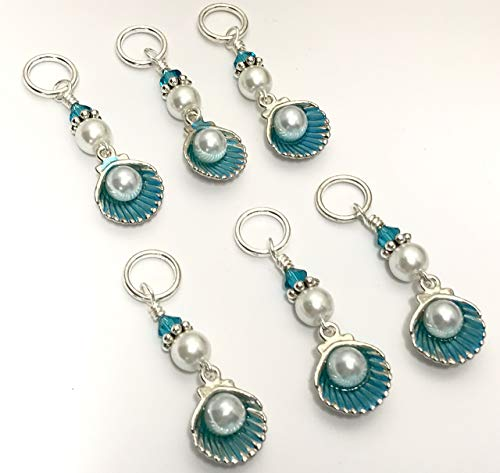Seashell Stitch Marker Charm Set for Knitters