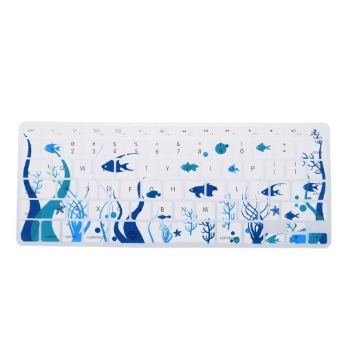 Case Star Ocean series White Keyboard Silicone Cover Skin With The Seaweed And Fish Pattern for Macbook 13-Inch Unibody / Macbook Pro 13, 15, 17 inches + Case Star Cellphone Bag