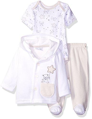 (Rene Rofe Baby Baby 3 Piece Velour Jacket Set with Pant & Lap Shoulder Bodysuit, White Bear, 3-6 Months)