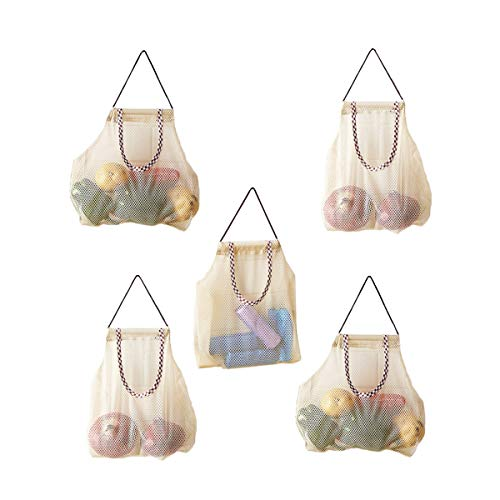 Hanging Mesh Storage Bags For Potatoes,Onions,Garlics,Vegetables Long and Large Reusable Net Storage Tote Bags for Fruit Veggies Green Pepper or Garbage Bag By AHYUAN 5Pack