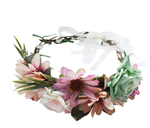 Vivivalue Boho Handmade Flower Wreath Halo Headband Floral Hair Garland Crown Headpiece with Ribbon Festival Wedding Bride Women Hair (Bridal Headpiece Flower Girl Wreath)