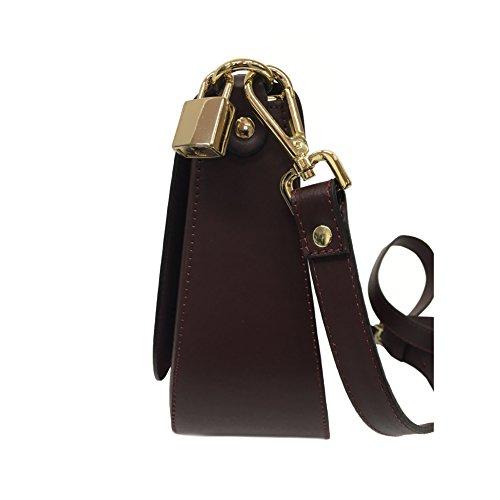 AVENUE67 borsa donna bordeaux con tracolla mod MOON 100% pelle ruga MADE IN ITALY
